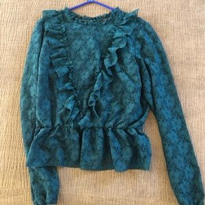 Forever 21 emerald green lace blouse